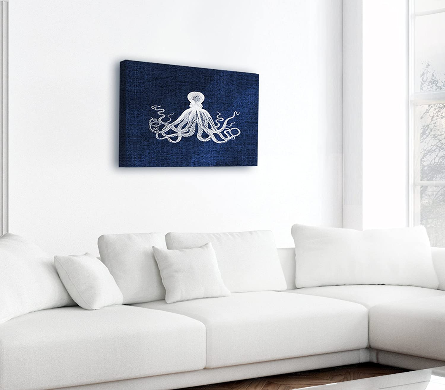 The Stupell Home Decor Collection Octopus on Black Canvas Art Stupell Industries cwp-124/_over/_can/_24x36