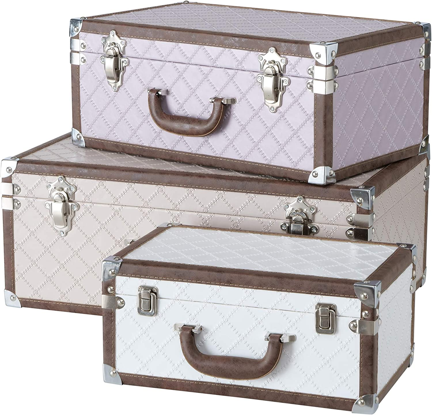 WHW Whole House Worlds Iconic Suitcase Storage Boxes, Set of 3, Metal Clad Corners, Vintage Faux Leather Accents, Quilt Pattern in Pink, Ivory and Beige, Fabric Lined