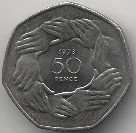 One 1973 50 Pence Hands in a Circle English Coin Concho