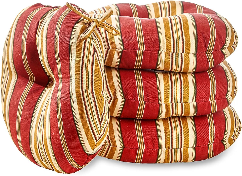 Greendale Home Fashions AZ6816S4-ROMASTRIPE Tuscan Stripe Outdoor Bistro Seat Cushion (Set of 4)