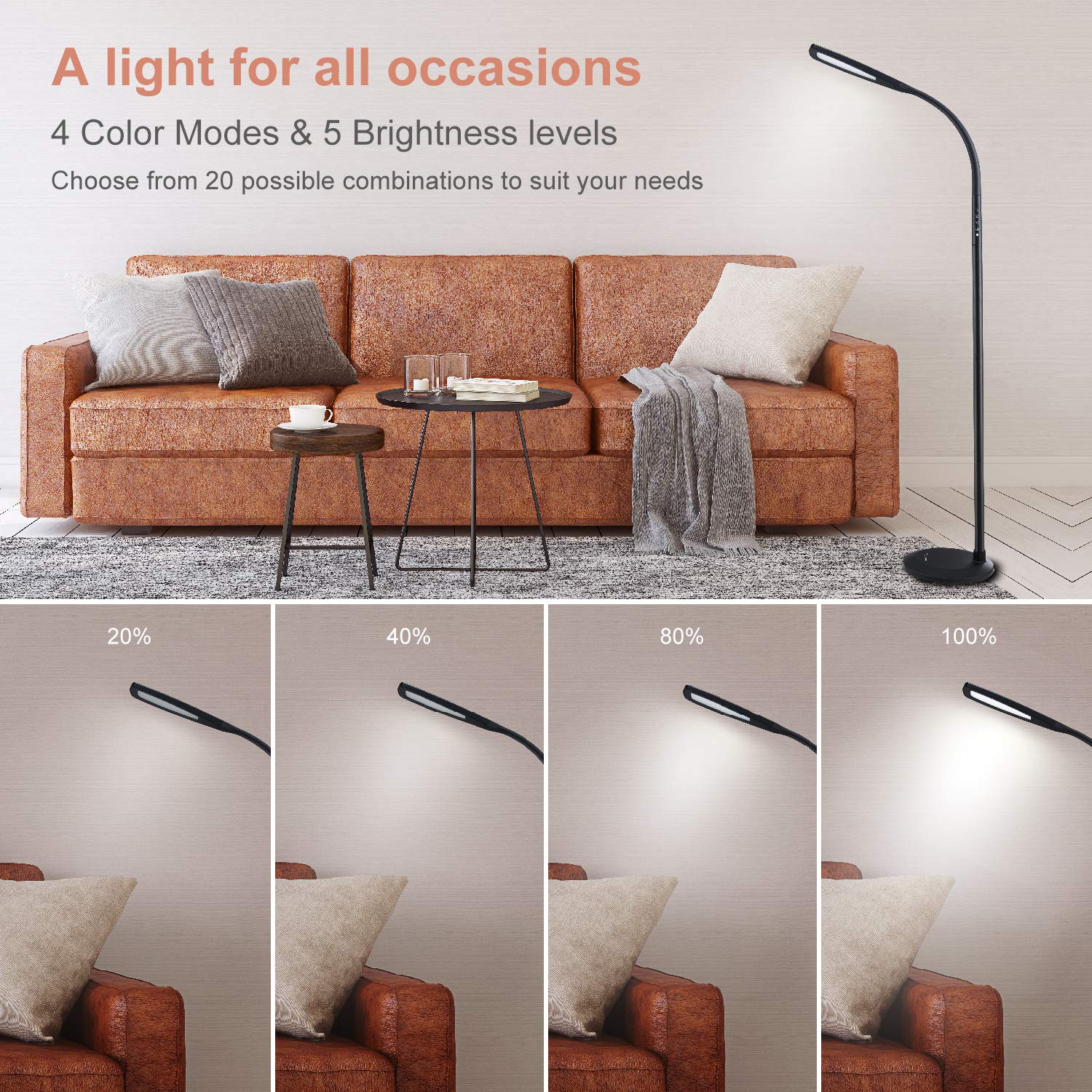 PHIVE LED Floor Lamp for Reading, Dimmable Gooseneck Standing Lamp (4 Color Modes, 5-Level Dimmer, 12W, Memory Function, Touch Control Floor Light for Living Room, Bedroom, Office) Black by PHIVE (Image #2)