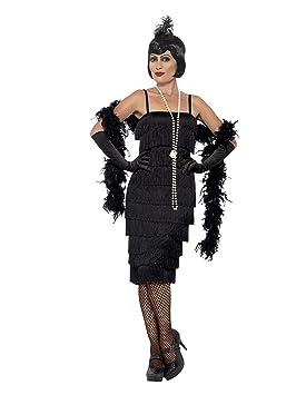 SmiffyS 45502L Disfraz De Chica Años 20 Con Vestido Largo, Diadema Y Guantes, Negro, L - Eu Tamaño 44-46