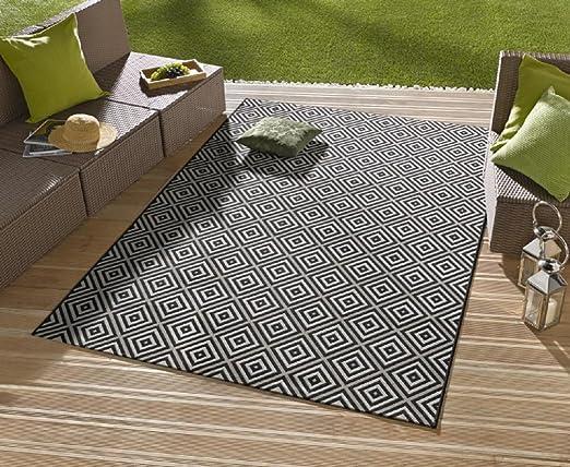Alfombra/moderna alfombra/salón – Alfombra exterior – para balcón o terraza – para en Y Outdor Adecuado – La Atención a su jardín muebles – Cuadros negro – Aprox. 80 x 200 cm: Amazon.es: Hogar