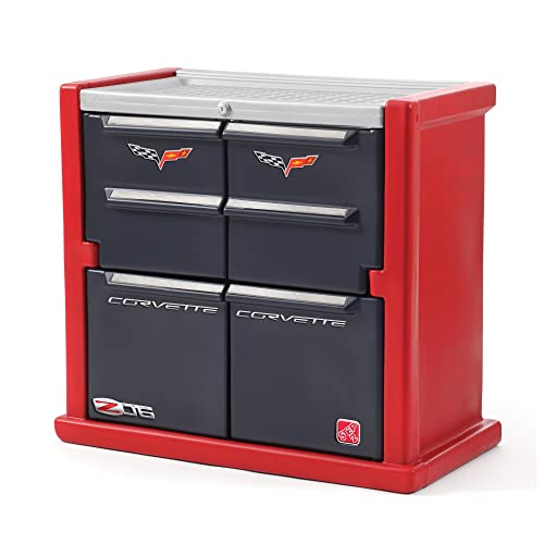 Step2 Corvette Dresser for Kids – Durable 4 Drawer Cabinet Organizer, Red Black Silver