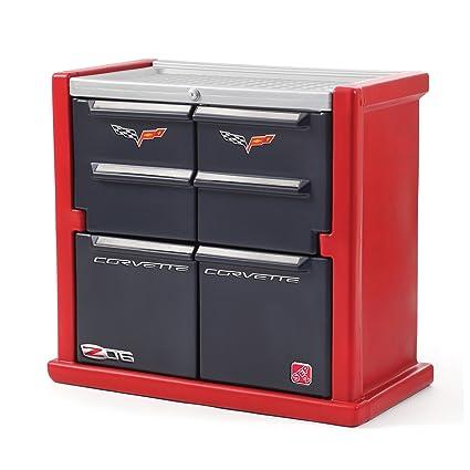 Step2 Corvette Dresser For Kids   Durable 4 Drawer Cabinet Organizer,  Red/Black/