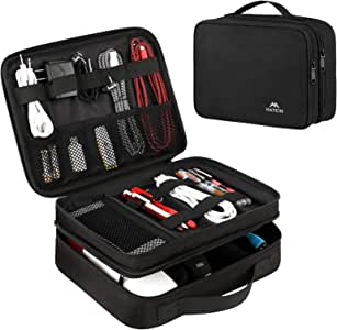 Matein Electronics Travel Organizer, Waterproof Electronic Accessories Case Portable Double Layer Cable Storage Bag for Cord, Charger, Flash Drive, Phone, Ipad Mini, SD Card, Gifts for Him, Black