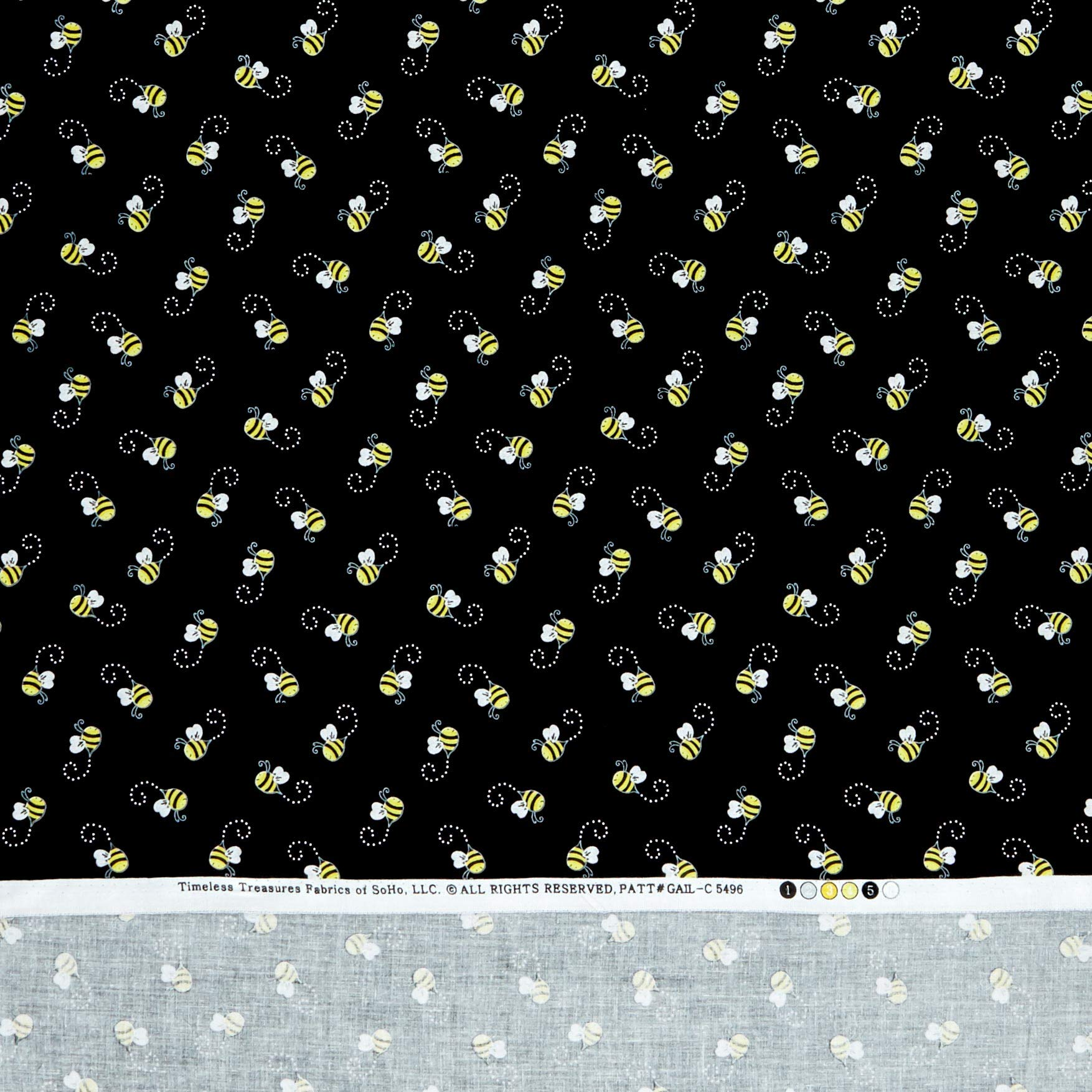 Timeless Treasures 0538306 You are My You are My Sunshine Bees Black Fabric by The Yard,