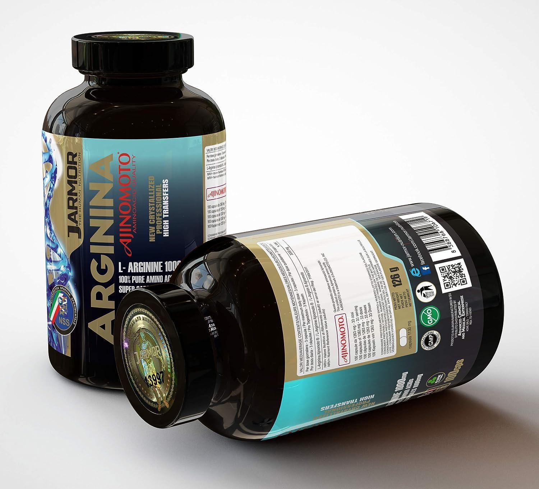 Suplemento J.ARMOR ARGININA AJINOMOTO purissima Top Quality 100 Super cápsulas de 1000mg Vigor sexual Crecimiento muscular Fuerza y Recuperación óxido ...