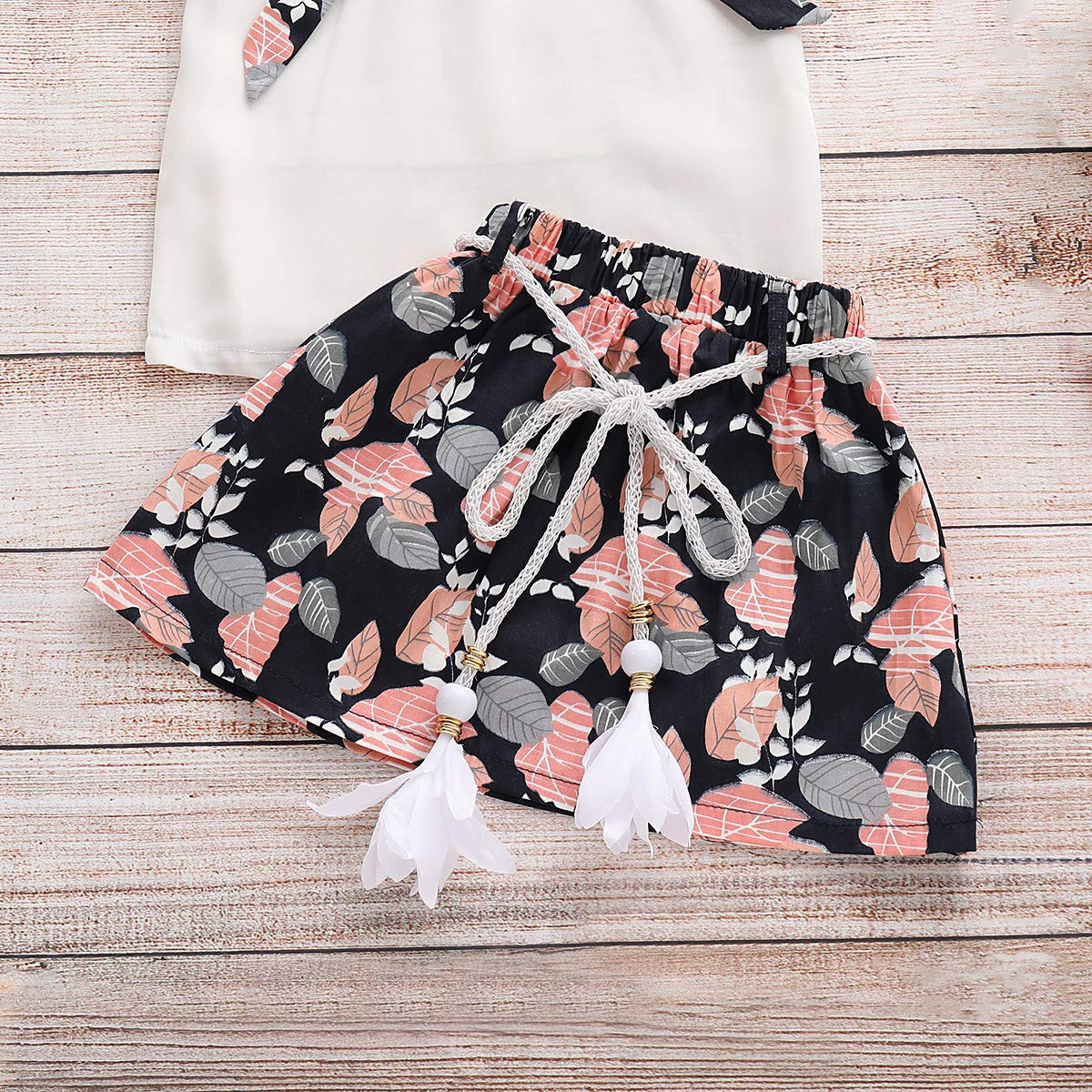 Leaf Skirt Clothes Age 3-8Y Kids Girls Ruffle Collar Short Sleeve Tops Shirt