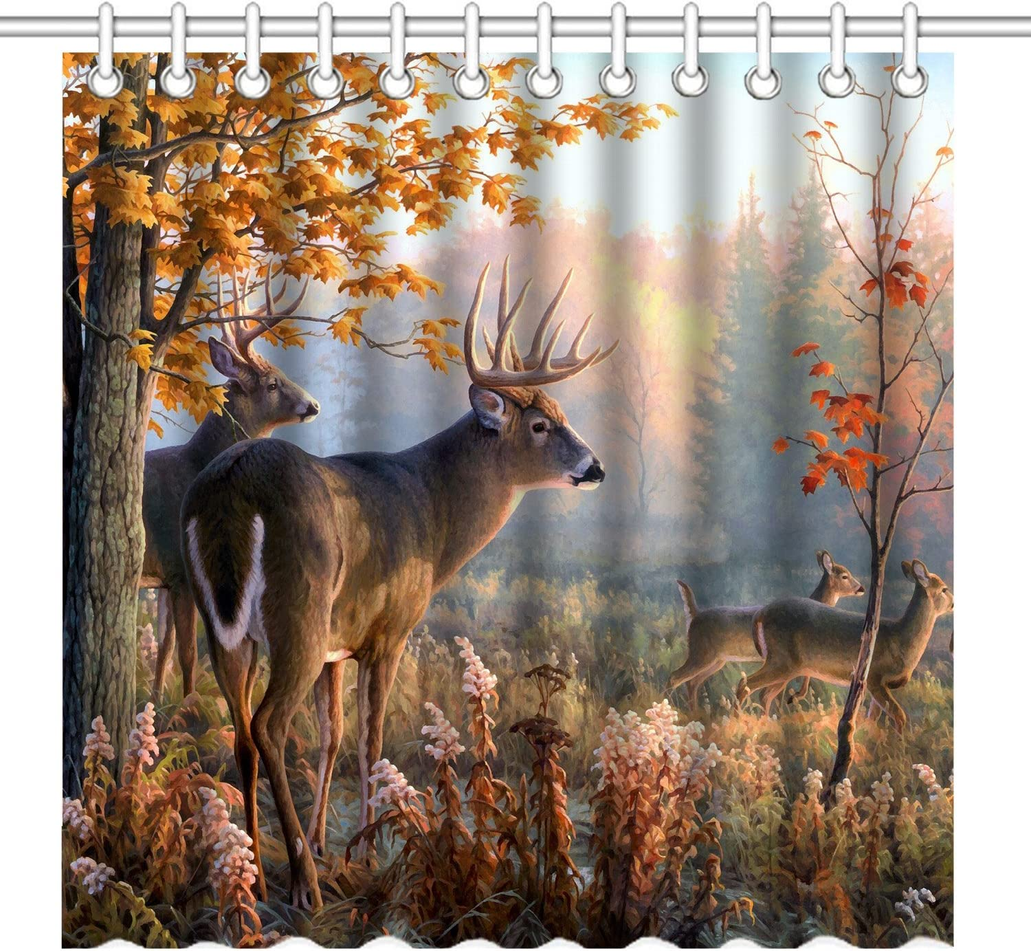 Majestic Moose Animal Forest Fabric Shower Curtain