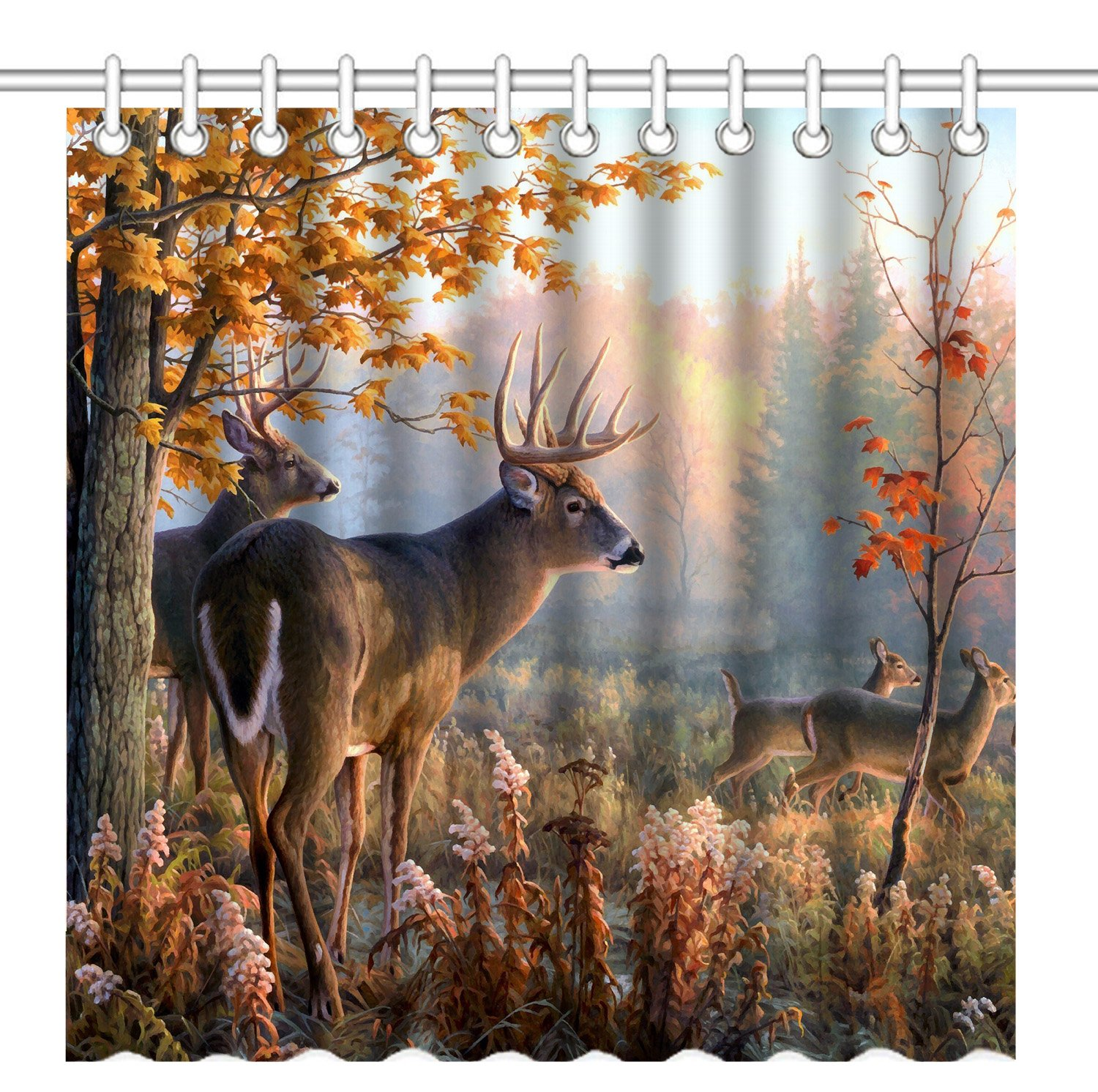 Details about Shower Curtain Deer Rustic Wildlife Bathroom Decor Nature  Cabin Lodge Gift New