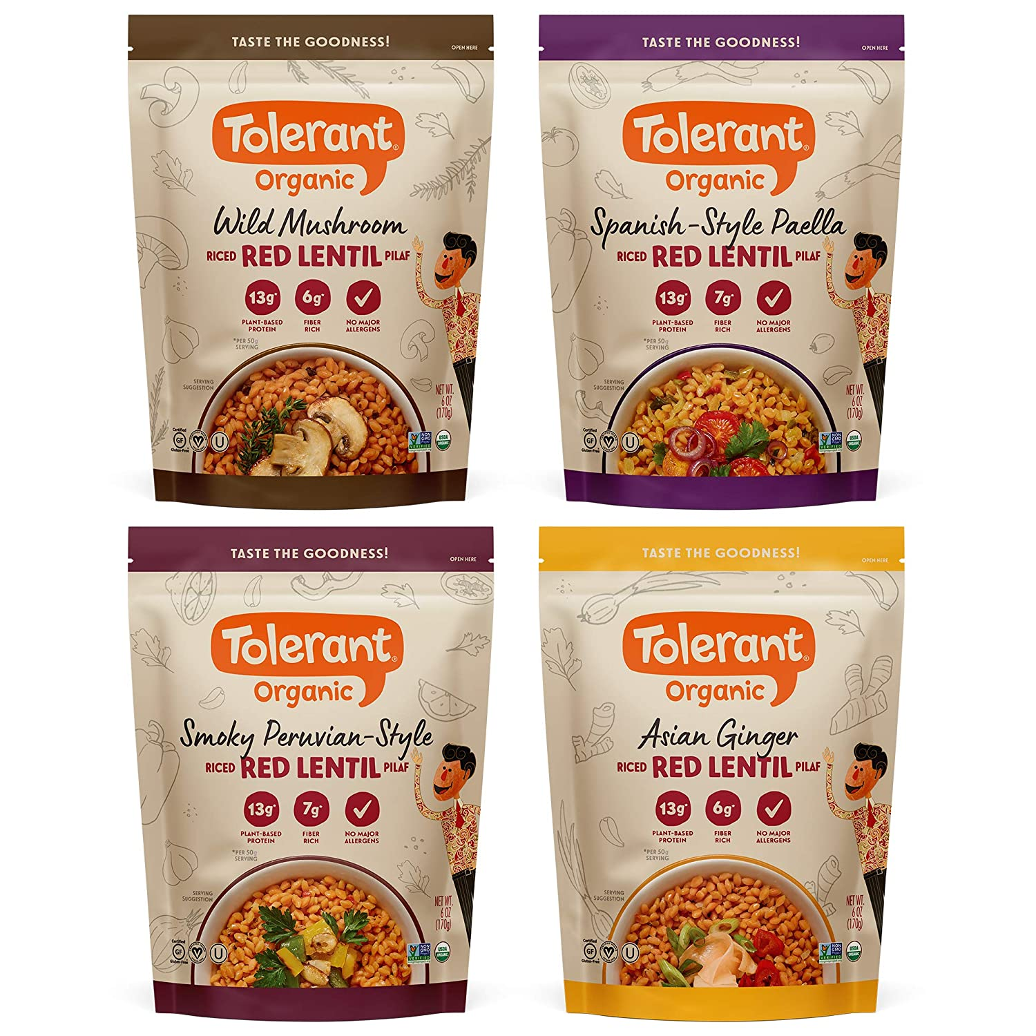 Tolerant Organic Variety Pack Red Lentil Pilaf - 6 oz Pouches (Case of 4), Plant-Based Protein, Gluten-Free, Vegan, Non-GMO, Organic, Clean Eating, Kosher