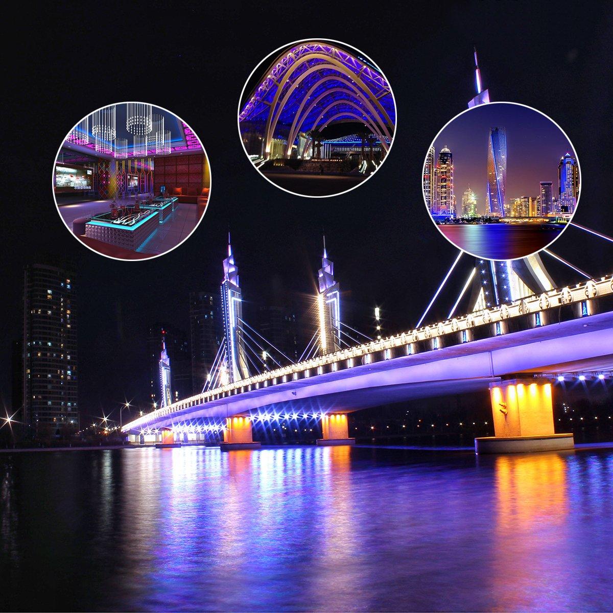 Mokungit 16.4ft 5M DC12V WS2811 48 LEDs/m 5050 RGB SMD Digital Dream Color Addressable Flexible LED Strip Light (White PCB IP67 Waterproof)
