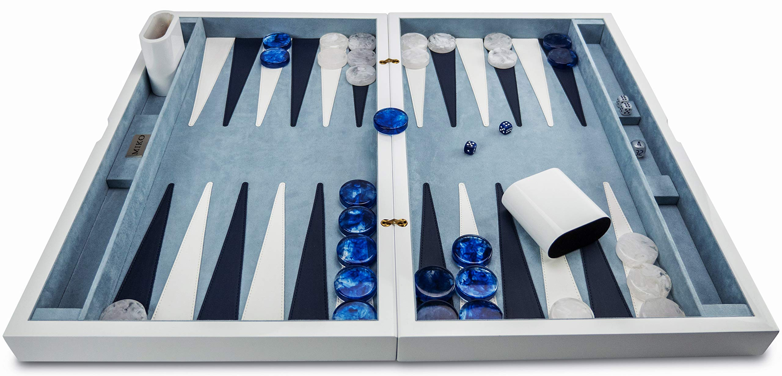 "Miko 21"" Backgammon Board Game Set (White Lacquer)"