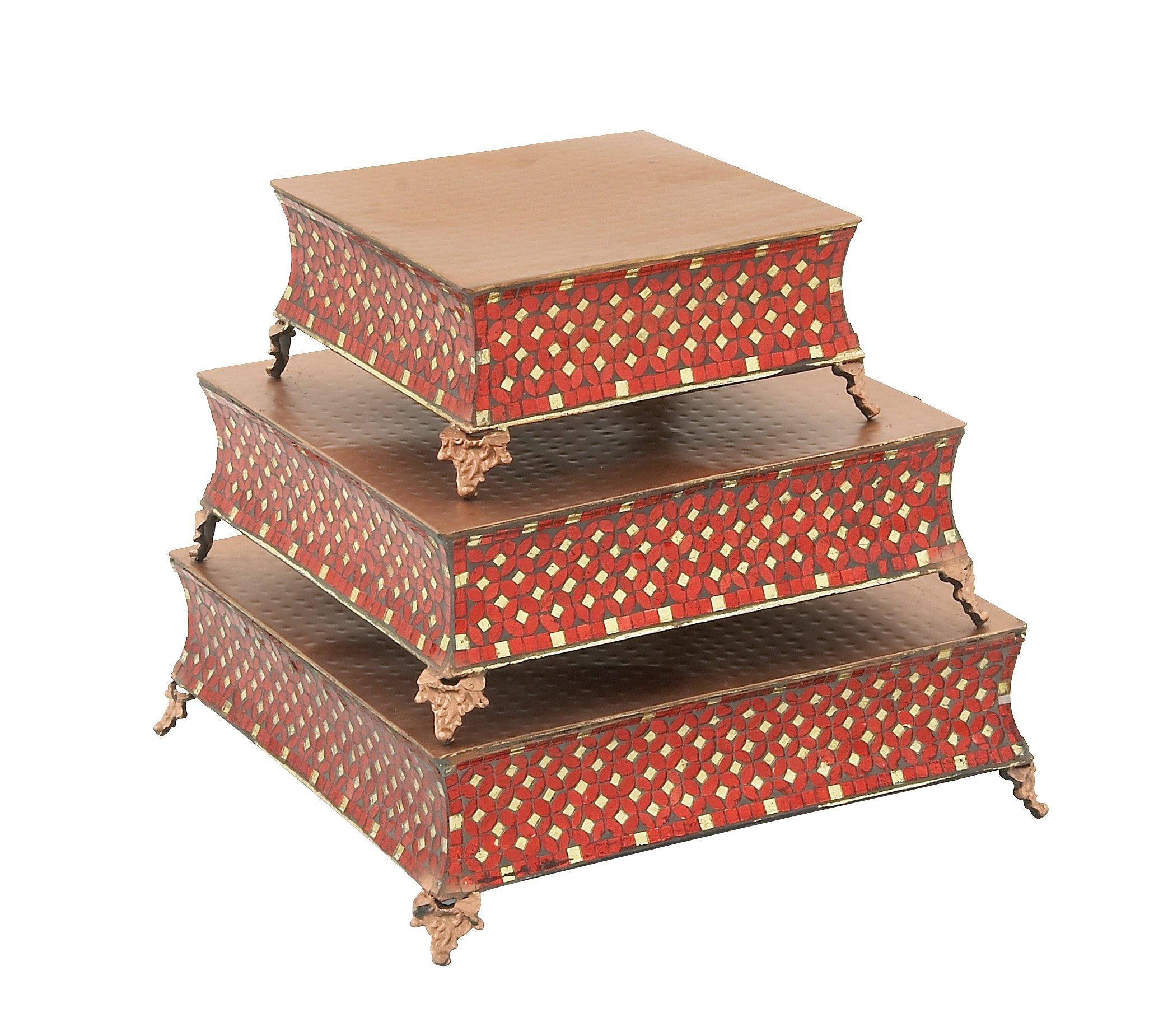 Deco 79 23977 Metal Mosaic Cake Stand (Set of 3), 12''/16''/18''