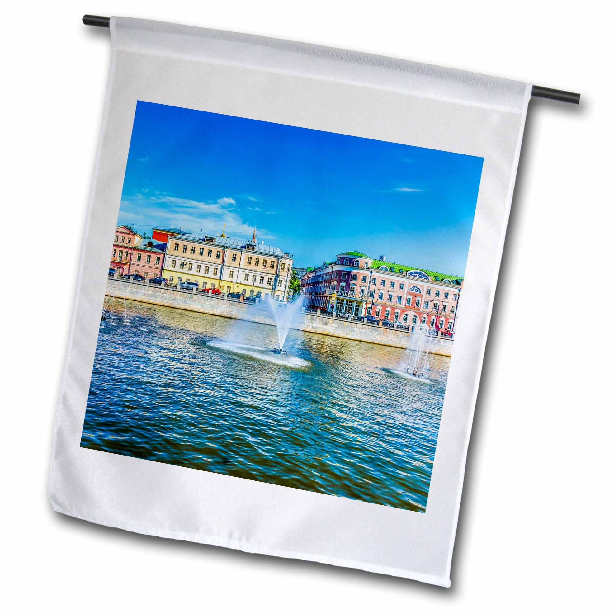 3dRose Alexis Photography - Moscow City - Bypass canal of the Moscow river, fountains and historic buildings - 18 x 27 inch Garden Flag (fl_270798_2)