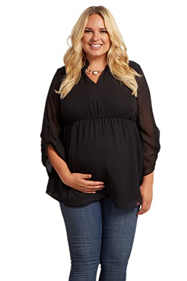 19f5489ea52d8 PinkBlush Maternity Flowy Chiffon Plus Size Blouse at Amazon Women's  Clothing store:
