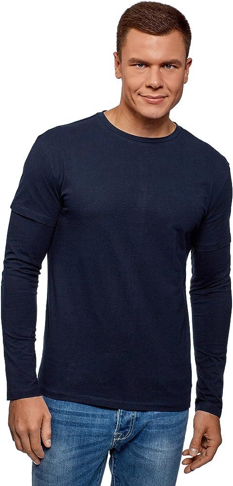 oodji Ultra Hombre Camiseta de Algodón con Mangas Dobles, Azul, ES 44 / XS: Amazon.es: Ropa y accesorios