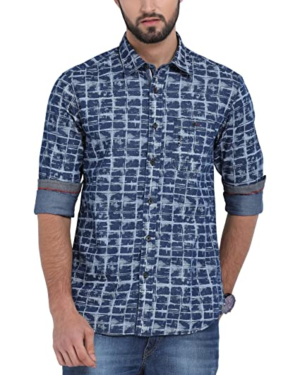 c1ad57d8f89 Classic Polo Dark Blue Check Shirt for Men  Amazon.in  Clothing    Accessories