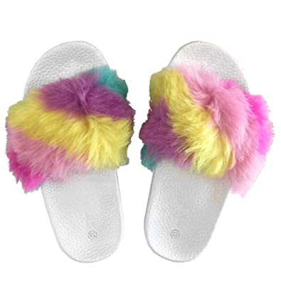 amazon com popular girls fuzzy faux fur slide slip on sandals