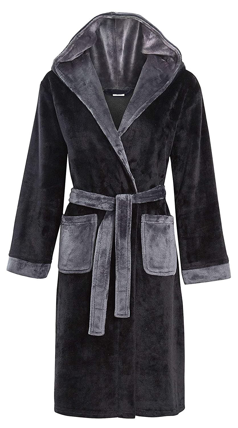 Boys Luxury Flannel Fleece Hooded Dressing Gown Navy Blue or Black with Grey Size 7 8 9 10 11 12 13 Years