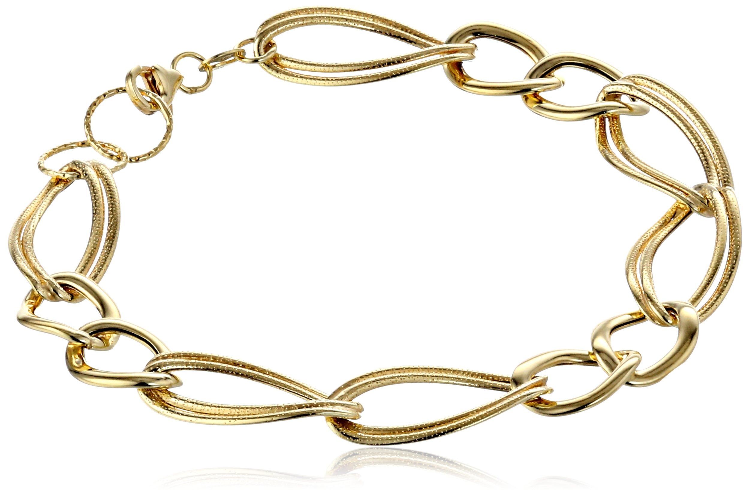14k Yellow Gold Italian Polished and Textured Link Bracelet, 7.5''