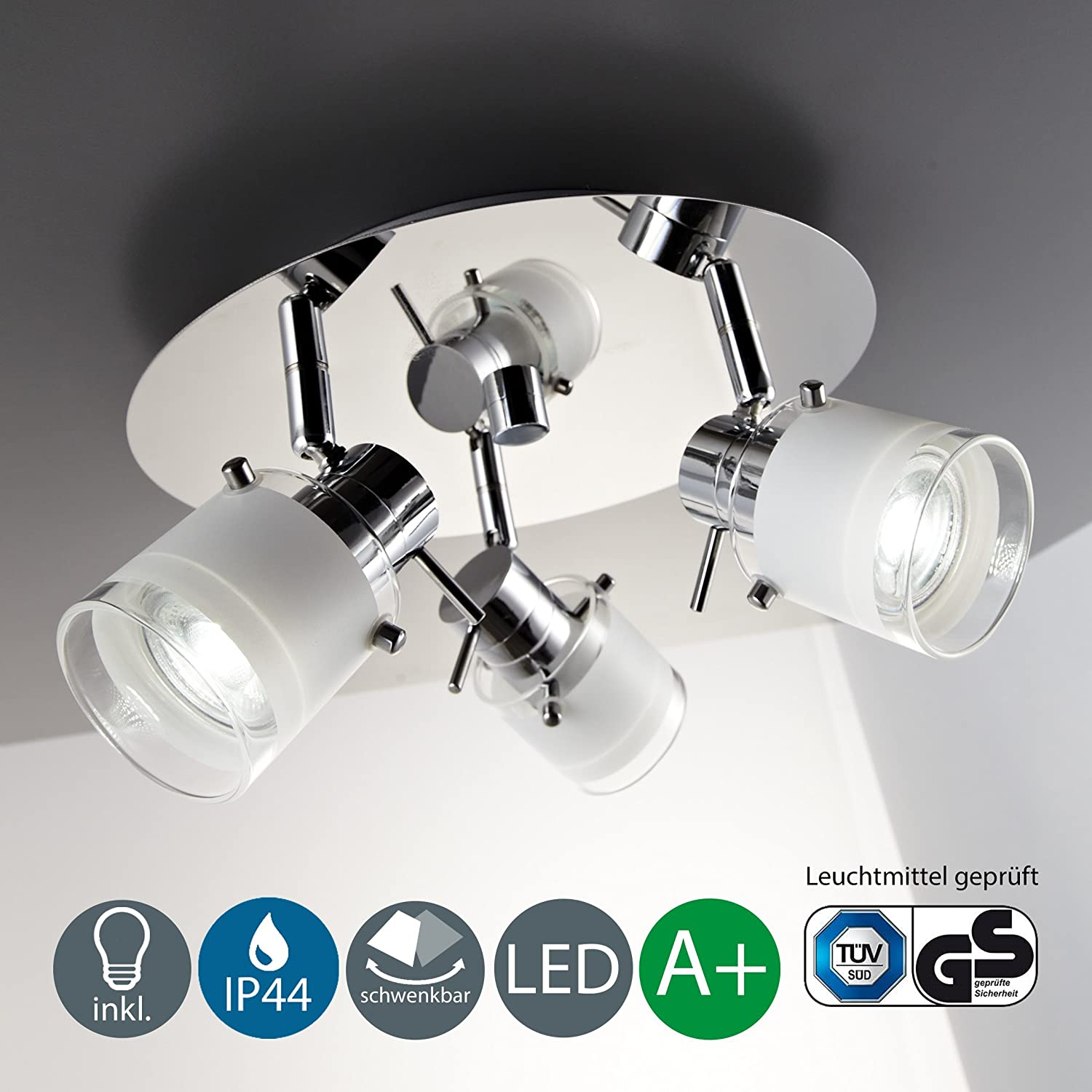 Modern LED Wall light | Bathroom wall fitting | Adjustable spotlight | Beauty light | Pull switch operated | 5 Watt | 400 Lumen | 3000 Kelvin | Warm white light colour | IP 44 rated [Energy Class A+] B.K.Licht BKL1016