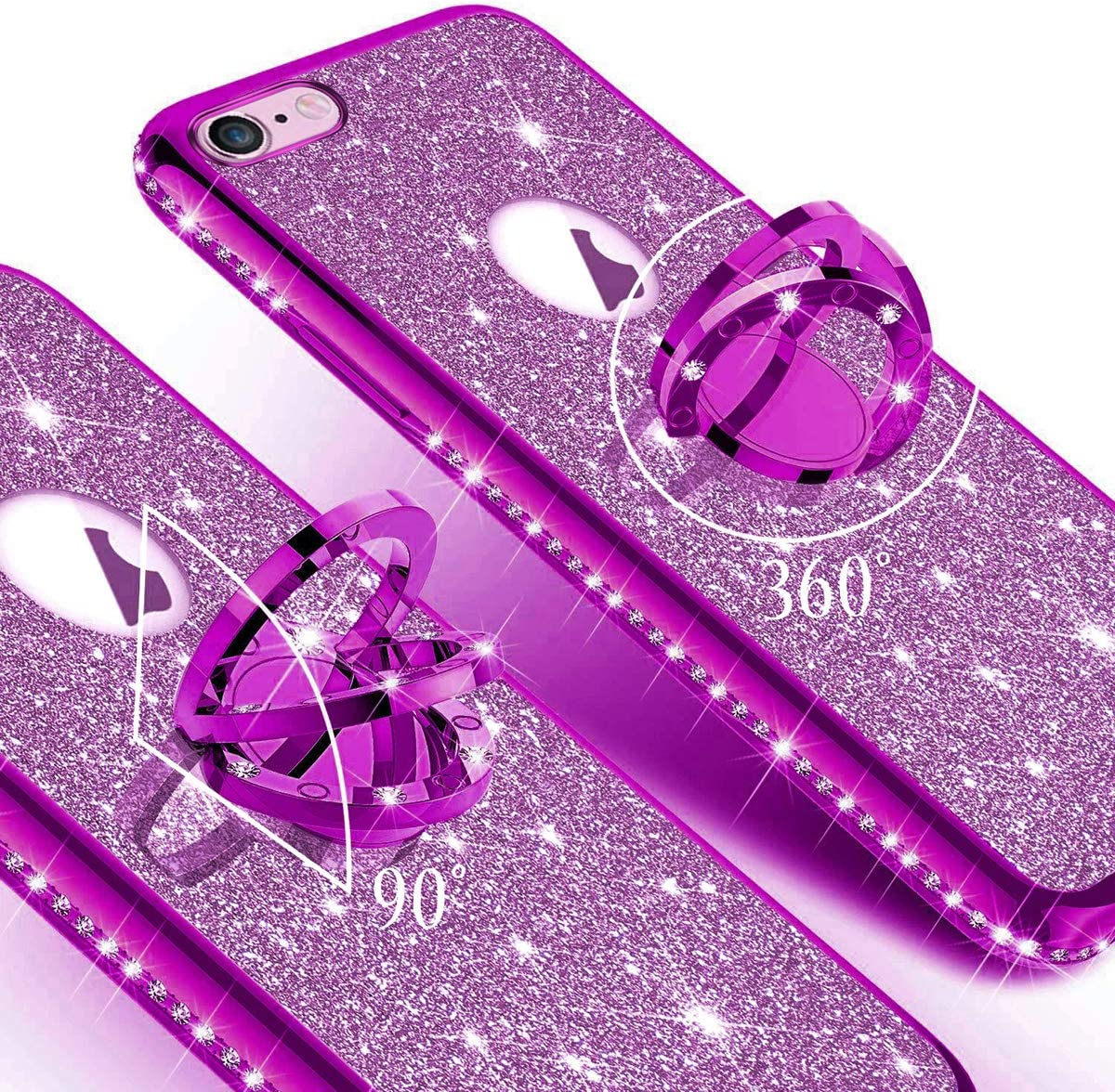 Anti-Scratch JCKHM Compatible con iPhone 6 Plus//6S Plus Funda TPU silicona,Fashion Diamante Marco de tpu electrochapado brillo Silicona suave Brillo Soporte redondo carcasa TPU ,Negro