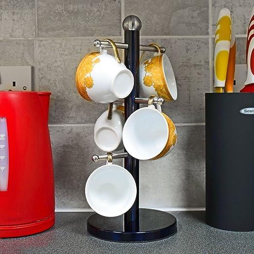 6/tazas color negro Top Home Solutions para tazas