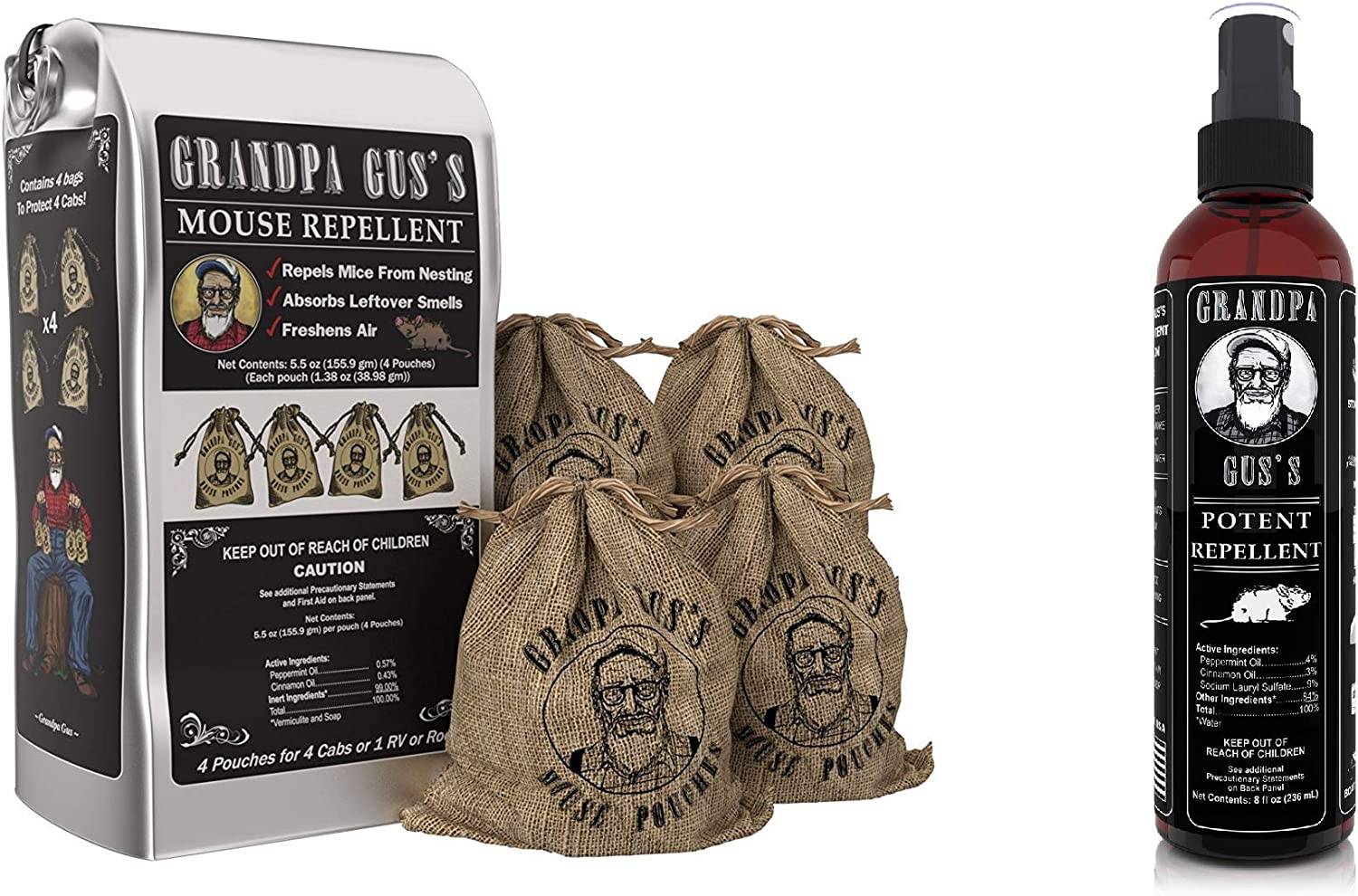 Grandpa Gus's Mouse Repellent Pouches + Potent Mouse Repellent Spray, Made with Peppermint/Cinnamon Oils, Protects Home/RV, Boat/Car Storage & Machinery, 4x1.38oz Burlap Pouches & 1x8oz Bottle Spray