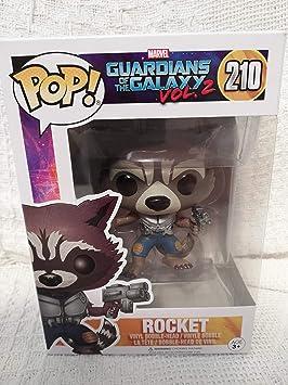 Funko - Colección Guardianes de la Galaxia, Vol. 2 - Línea Pop Vinyl - Código 12788 - Figura 210 del Personaje Rocket, de Vinilo, edición Limitada, 9 ...
