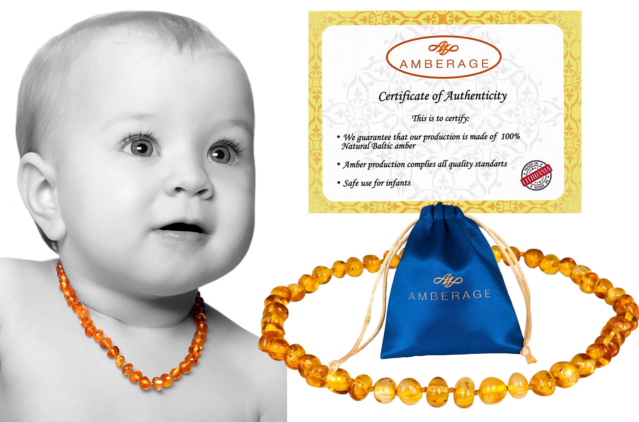 AMBERAGE Baltic Amber Baby Teething Necklaces (Unisex) Anti Flammatory, Drooling & Teething Pain Reduce Properties, Certificated Baroque Beads ( Honey ),Quality Guaranteed by Amberage