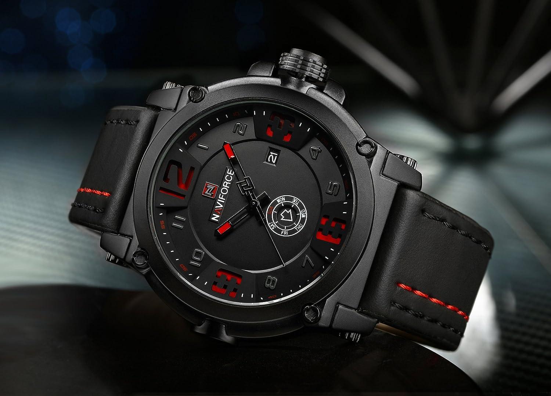 Naviforce reloj analógico cuarzo watch-men del deporte de moda Casual reloj de pulsera de cuarzo, calendario, la fecha, día pantalla (rojo): Amazon.es: ...