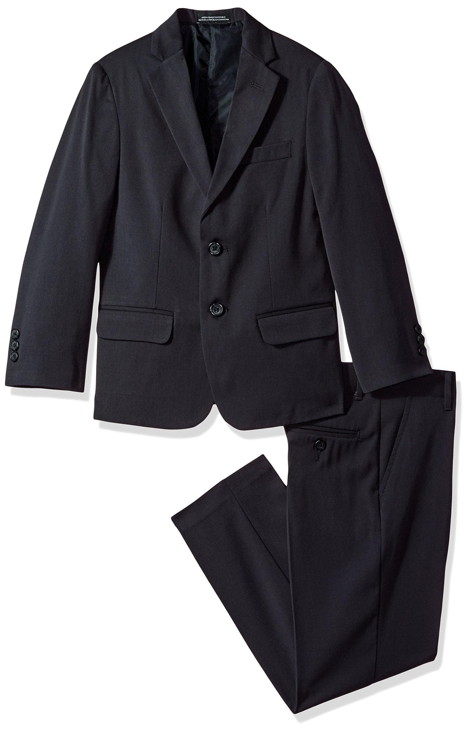 Van Heusen Big Boys' Solid Twill 2 Pc Suit, Navy, 8