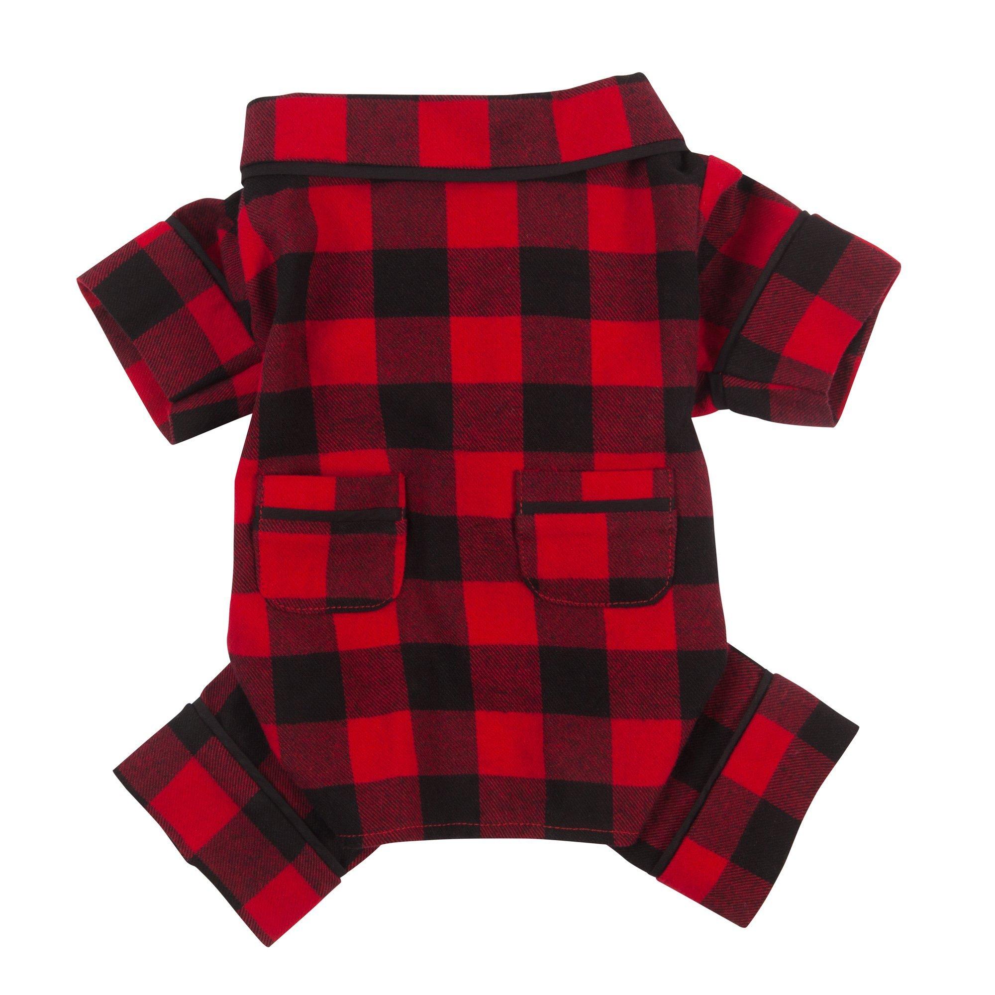 Fab Dog Flannel Dog Pajamas, 12'' Length, Buffalo Check