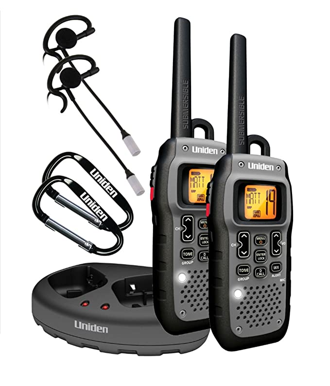 Uniden GMR5089-2CKHS, 22 Channel FRS Two-Way Radio Walkie Talkies w/ Dual Charging Cradle, Waterproof, Floats, 142 Privacy Codes, NOAA Weather Scan + Alert, Includes 2 Headsets