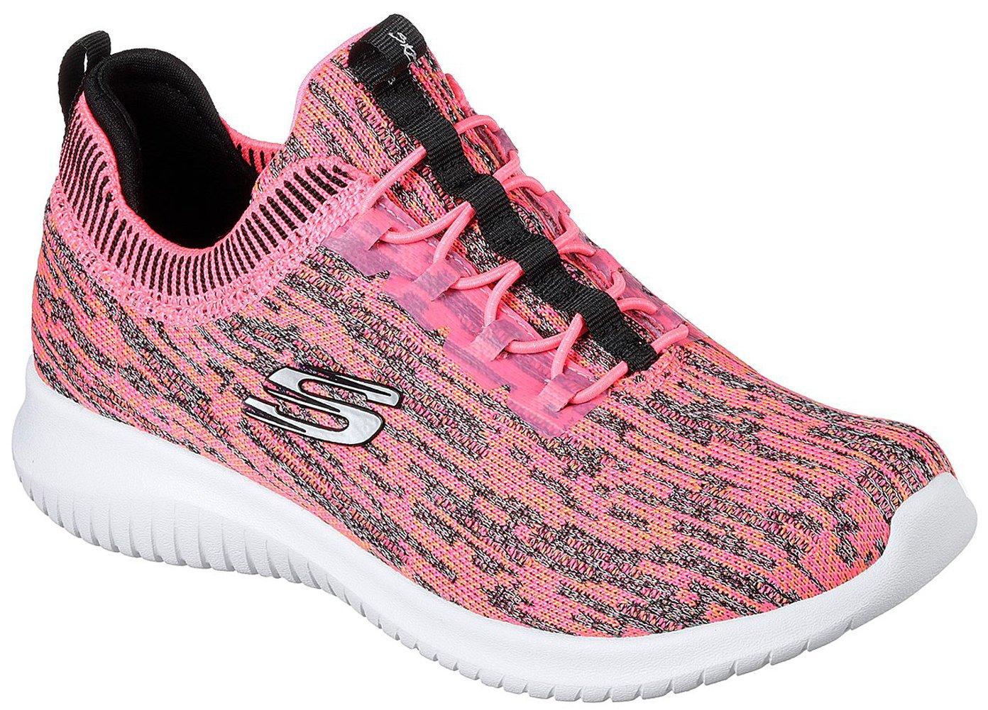Skechers Sport Womens Ultra Flex Bright Horizon Sneaker,6.5 B(M) US,Pink-black