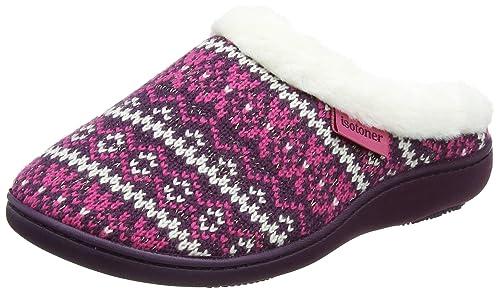 Isotoner Fair Isle Mule Slippers, Zapatillas Bajas para Mujer, Rosa (Berry), 39 EU: Amazon.es: Zapatos y complementos