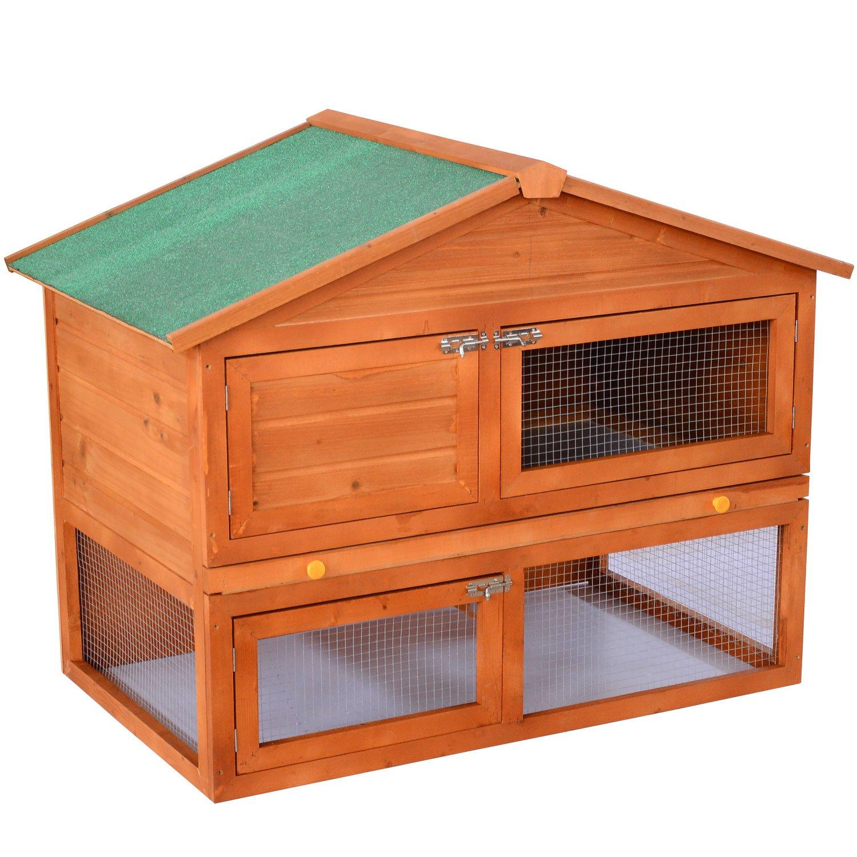 PawHut 48'' Wooden Backyard Rabbit Small Animal Cage Starter Kit With Run