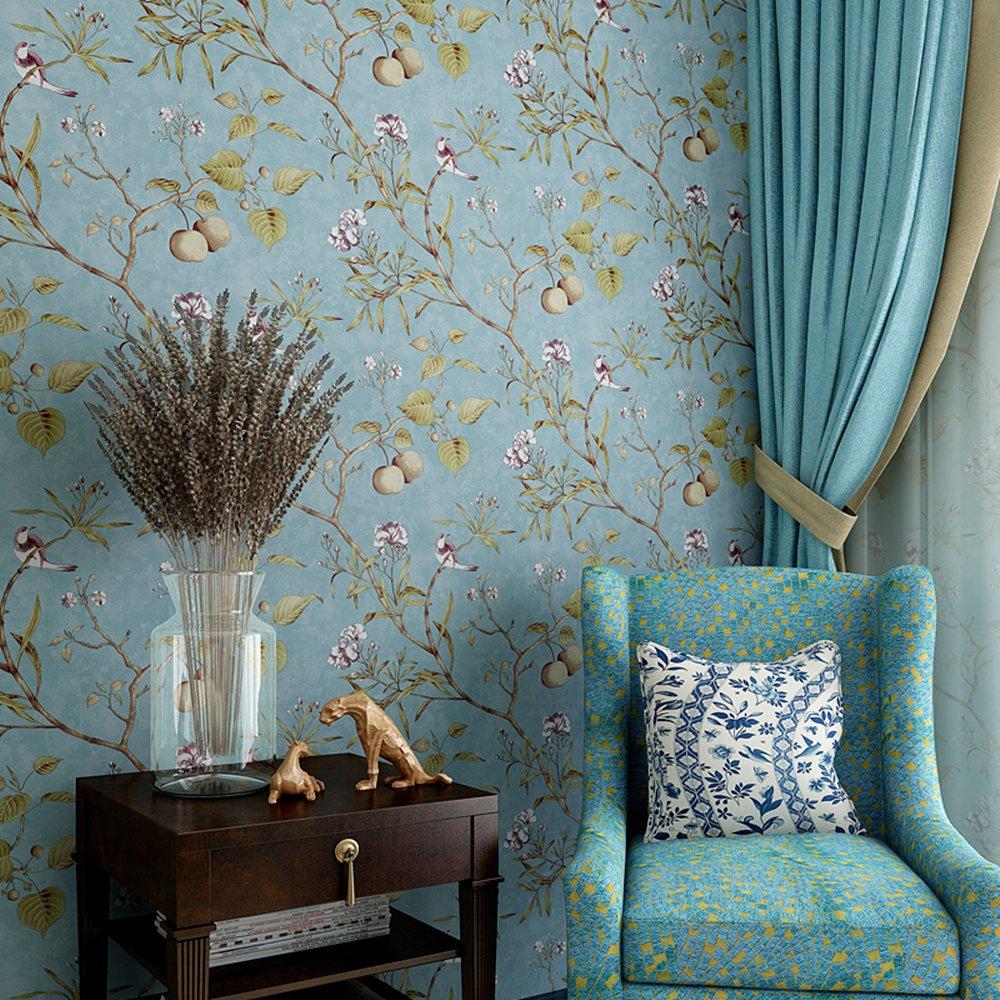 esmeralda verde Blooming pared Vintage Flores /Árboles P/ájaros papel pintado para sal/ón dormitorio cocina 57/cuadrado ft.