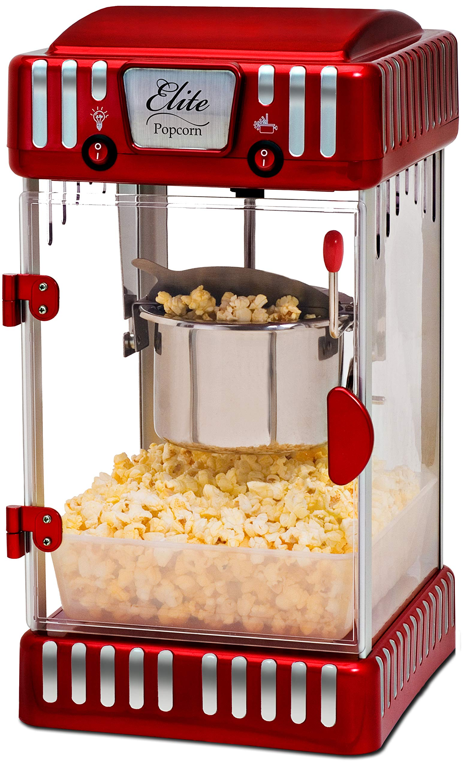 Elite Deluxe EPM-250 2.5 Ounce Classic Tabletop Kettle Popcorn Popper Machine, Retro-Style, Red by Maxi-Matic