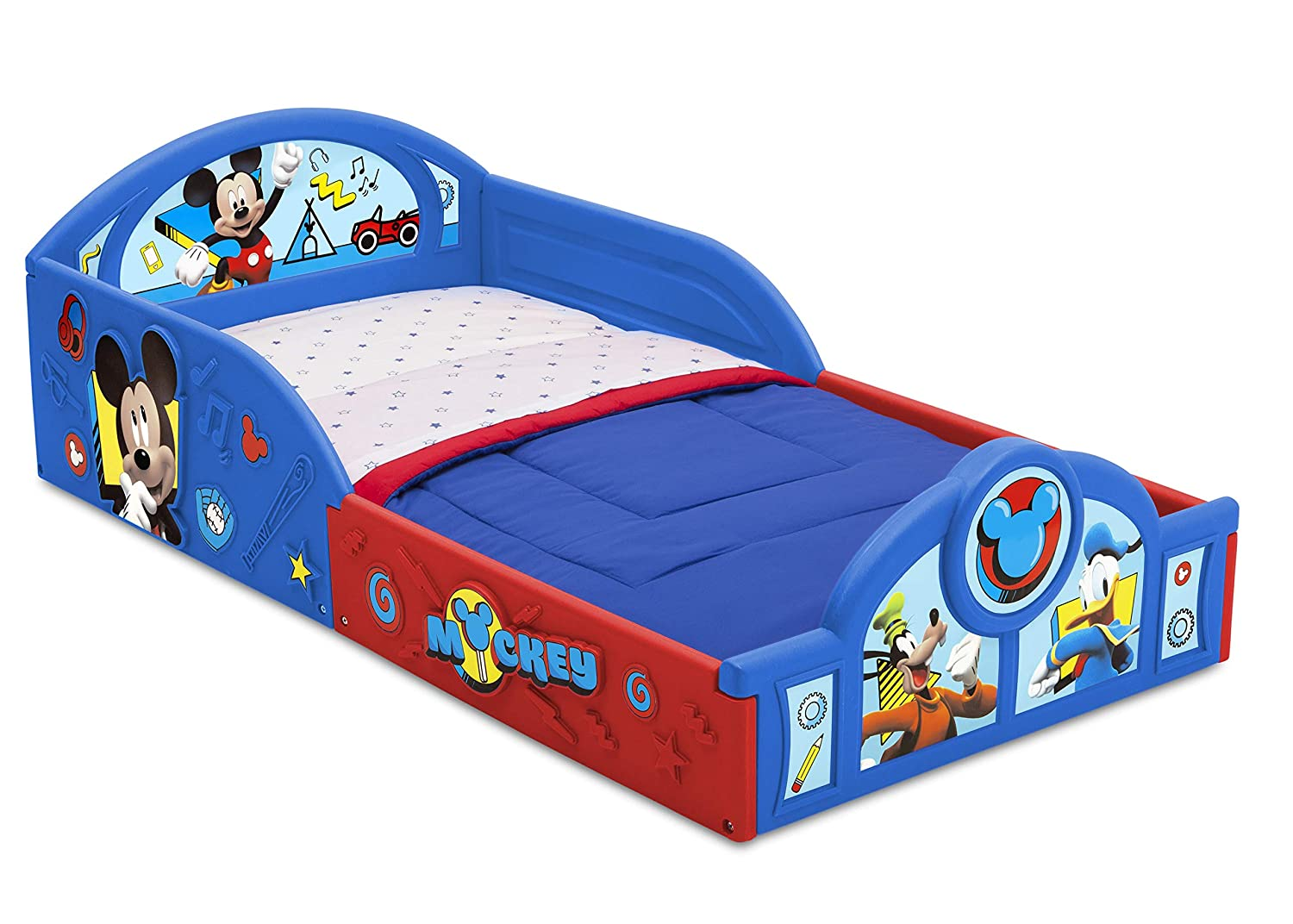 Disney Mickey Mouse Deluxe Toddler Bed with Attached Guardrails