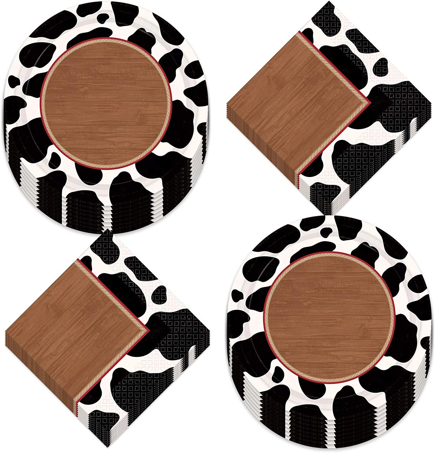 Western Party Wood & Cow Print Round Paper Dessert Plates and Beverage Napkins (Serves 16)