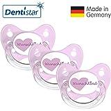Dentistar® Silikon Schnuller 3er Set - Beruhigungssauger, Nuckel Größe 1 von Geburt an, 0-6 Monate - zahnfreundlich & kiefergerecht   Rosa Wunschkind