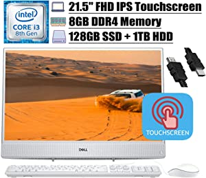 "2020 Newest Dell Inspiron 22 3000 All-in-One Desktop Computer, 21.5"" Full HD Touchscreen IPS, Intel Core i3-8145U (Beats i5-7200U), 8GB DDR4 128GB SSD 1TB HDD, WiFi Win 10 + iCarp HDMI Cable"