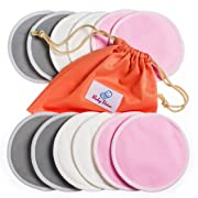 Washable Nursing Pads 12 Pack   Organic Bamboo   Laundry & Travel Bag   Breastfeeding & Sleeping Guide   Softest Reusable Breast Pads by BabyVoice