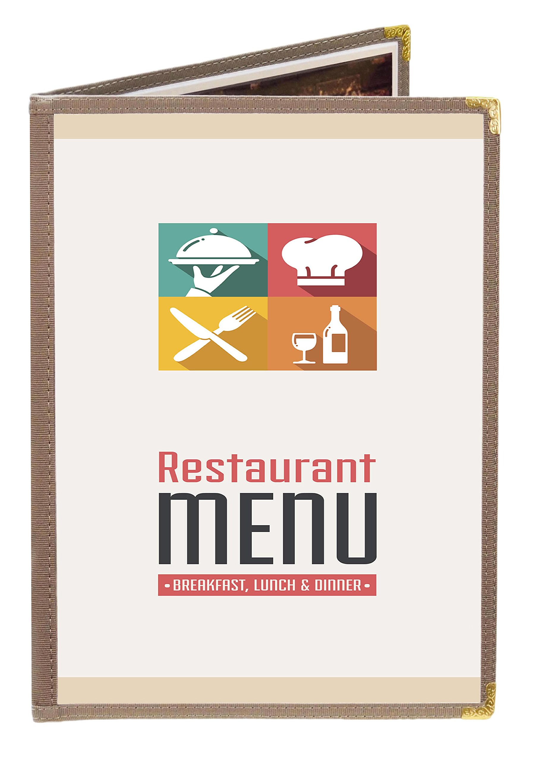 25 BETTER QUALITY Menu Covers #3624 STEEL GREY NYLON FABRIC EDGE DOUBLE PANEL - 4-VIEW - 8.5'' WIDE x 11'' TALL - DOUBLE-STITCHED. Gold metal corners. SEE MORE: Type MenuCoverMan in Amazon search.