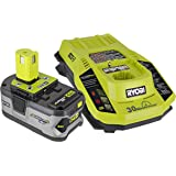 Ryobi P108 One+ 18V 4.0AH Lithium Ion Battery and P117 One+ Dual Chemistry Lithium Ion and NiCad Battery Charger (2 Piece Combo Set) (Certified Refurbished)