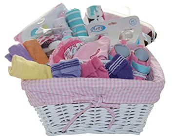 3e1ed06f1a0ca Amazon.com : Baby Gift Set Basket Filled with Newborn Delightful Items/Baby  Clothes and Accessories (Big Gift Basket, Pink - Girl) : Baby