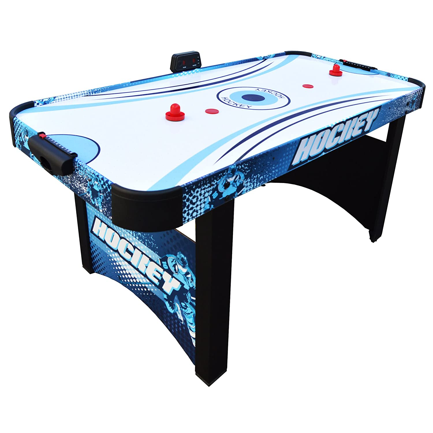 Hathaway Enforcer Air Hockey Table 5.5-ft for Kids with Electronic Scoring for Family Game Rooms